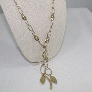 Chico's Gold Chain Leaf Necklace
